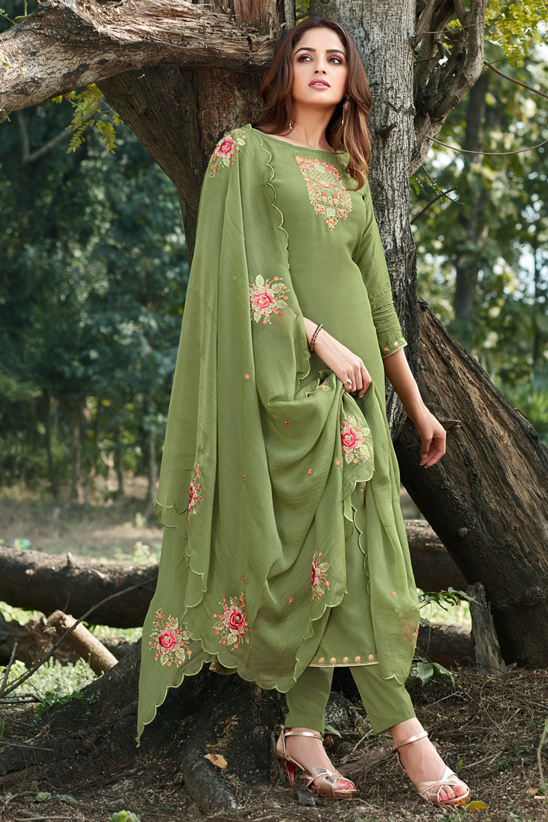 Party Style Green Color Thread Embroidered Straight Cut Dress In Cotton Silk Fabric