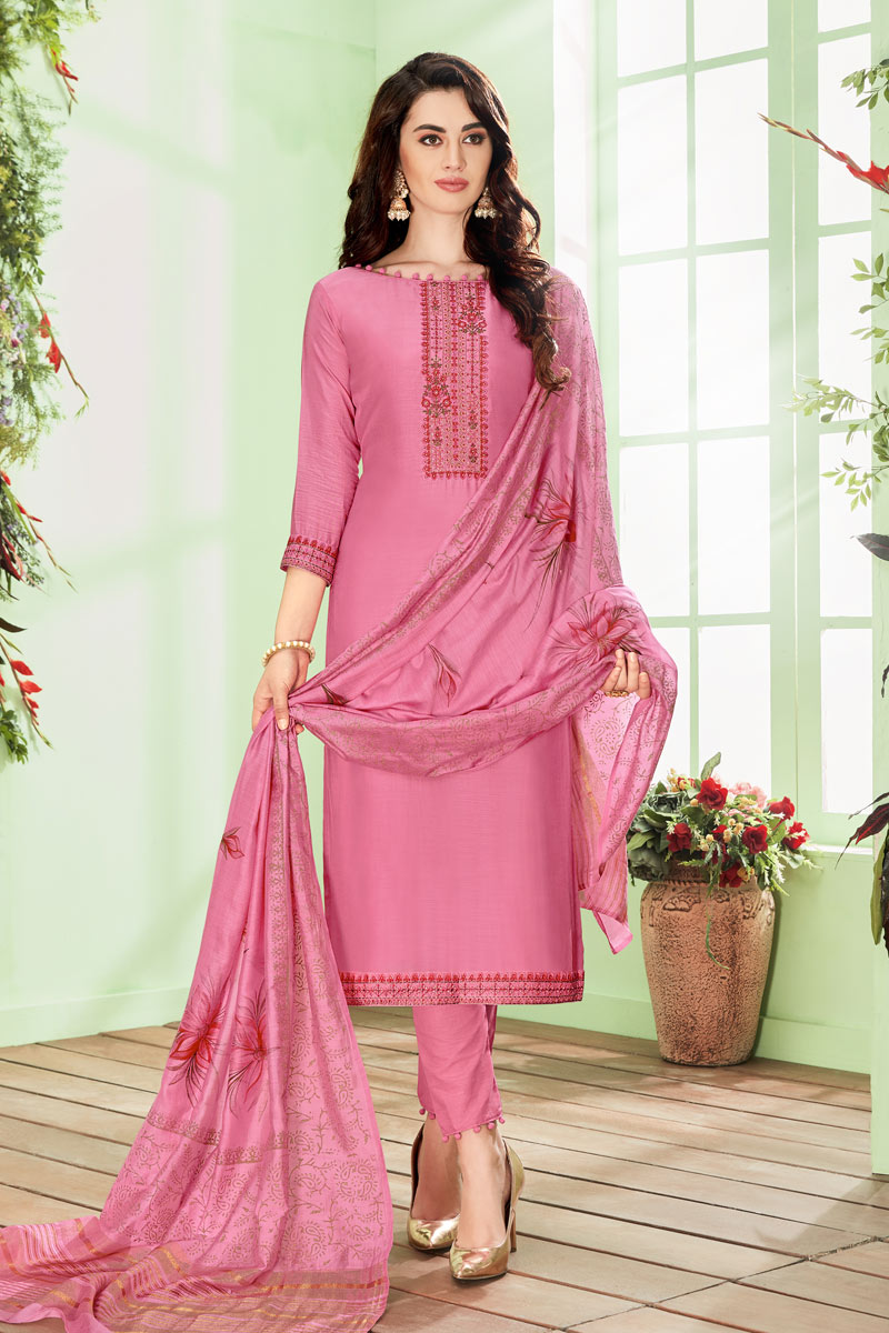Cotton Silk Fabric Pink Color Function Wear Embroidered Straight Cut Suit