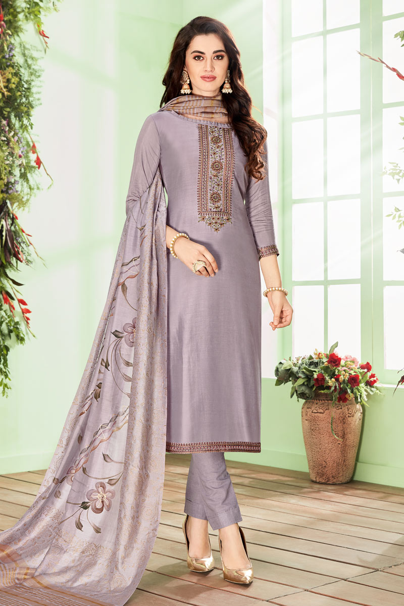 Embroidery Work On Cotton Silk Fabric Grey Color Function Wear Straight Cut Salwar Suit