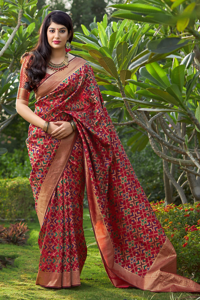 Banarasi Silk Fabric Red Color Weaving Work Designer Saree