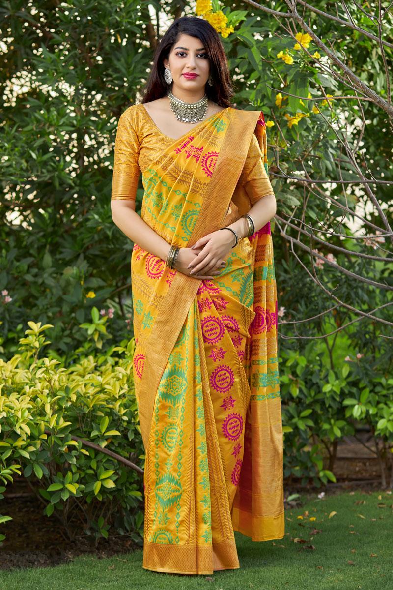 Weaving Work On Yellow Color Banarasi Silk Fabric Party Wear Saree