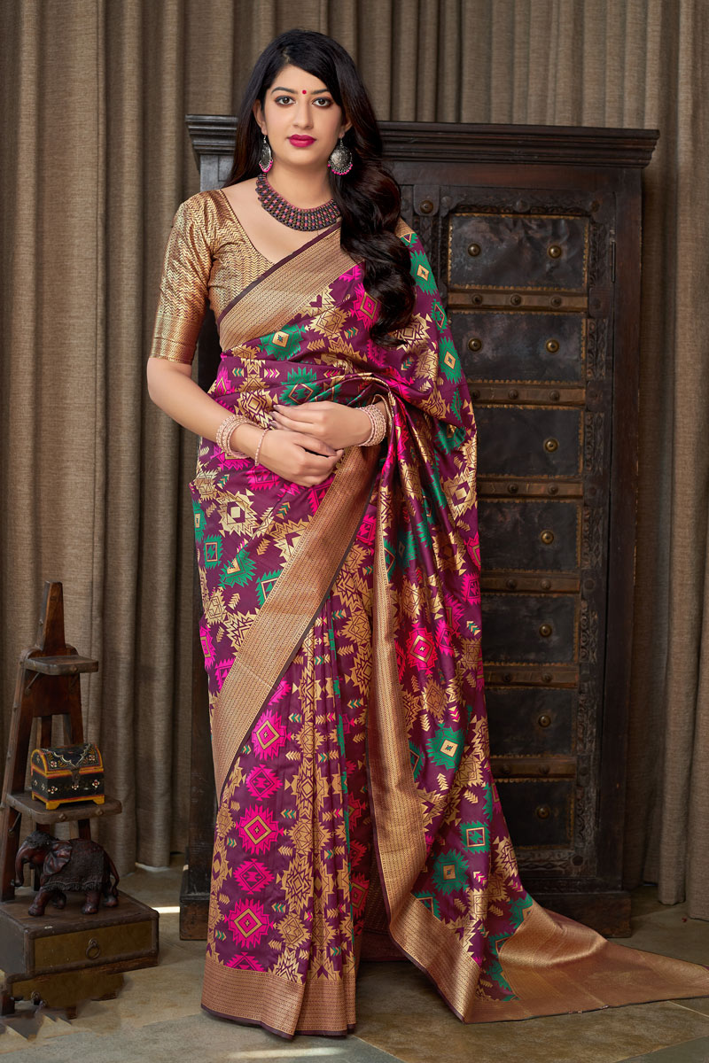 Purple Color Banarasi Silk Fabric Function Wear Saree With Weaving Work