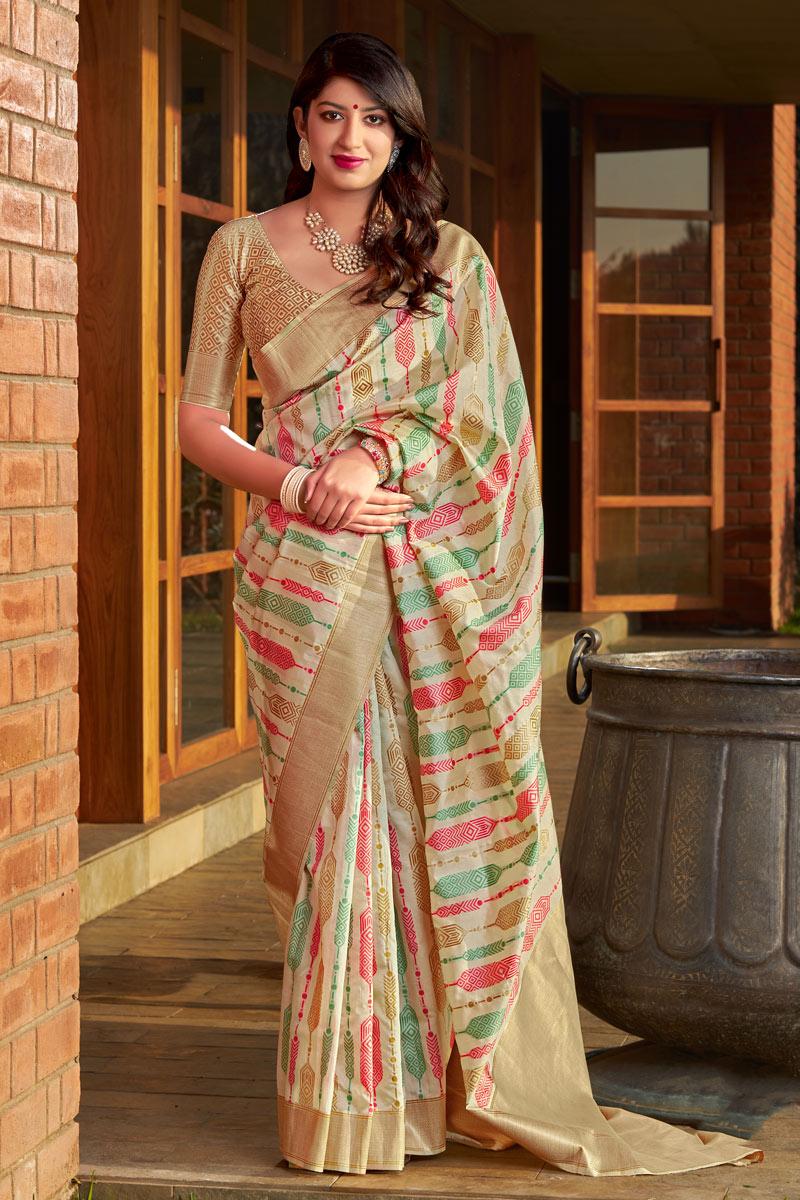 Banarasi Silk Fabric Beige Color Festive Saree With Weaving Work