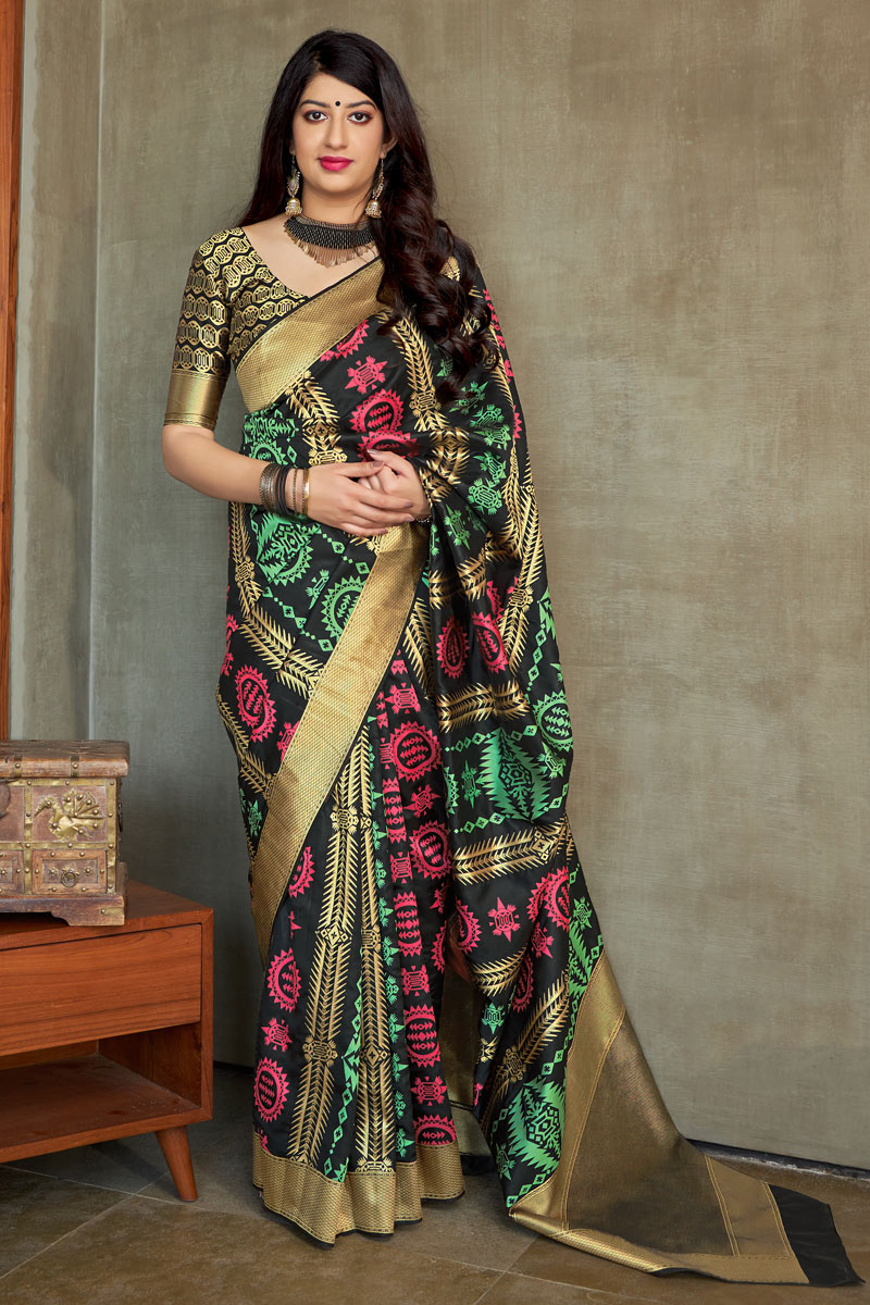 Weaving Work On Occasion Wear Saree In Black Color
