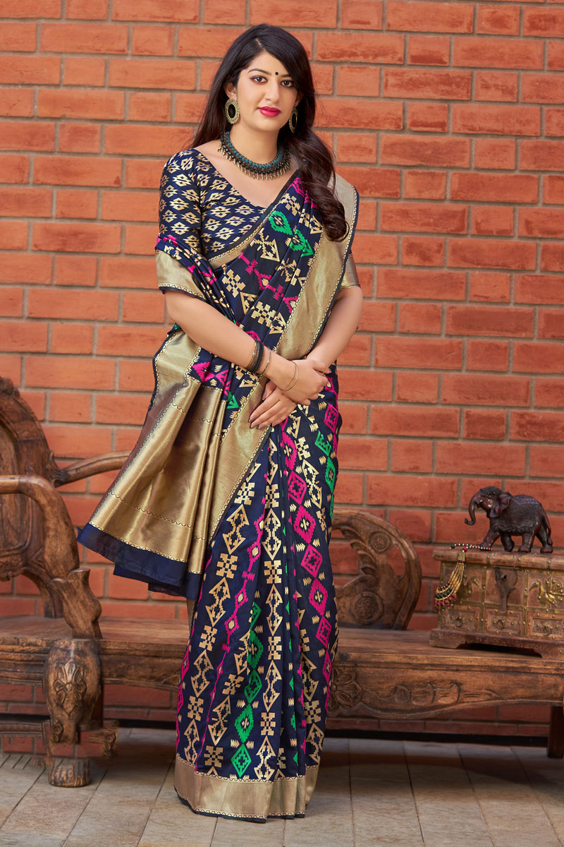 Navy Blue Color Banarasi Silk Fabric Wedding Wear Saree