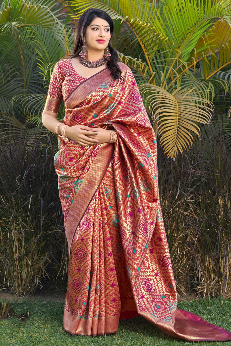 Weaving Work On Reception Wear Saree In Banarasi Silk Fabric Pink Color