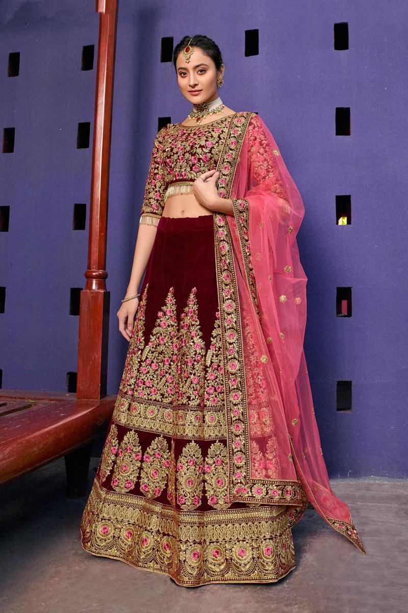 Embroidered Maroon Color Bridal Lehenga In Velvet Fabric