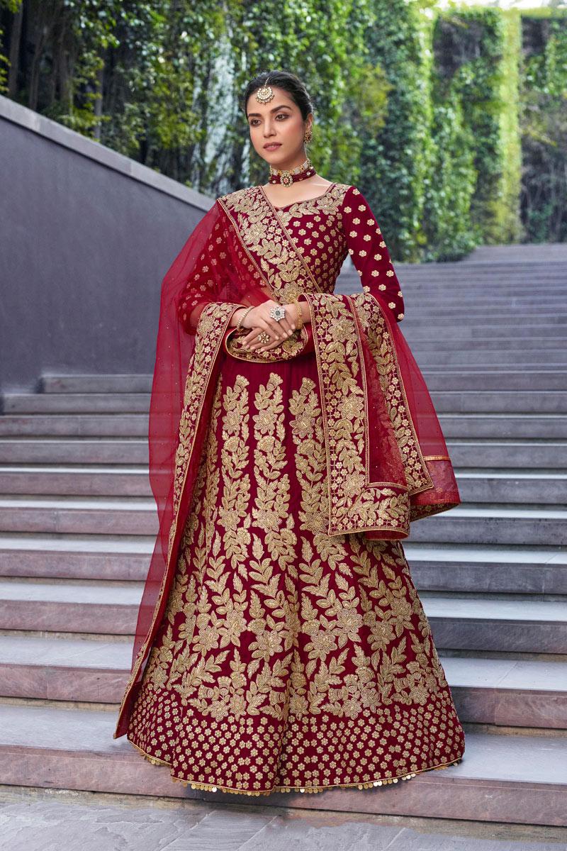 Velvet Fabric Bridal Wear 3 Piece Lehenga In Maroon Color