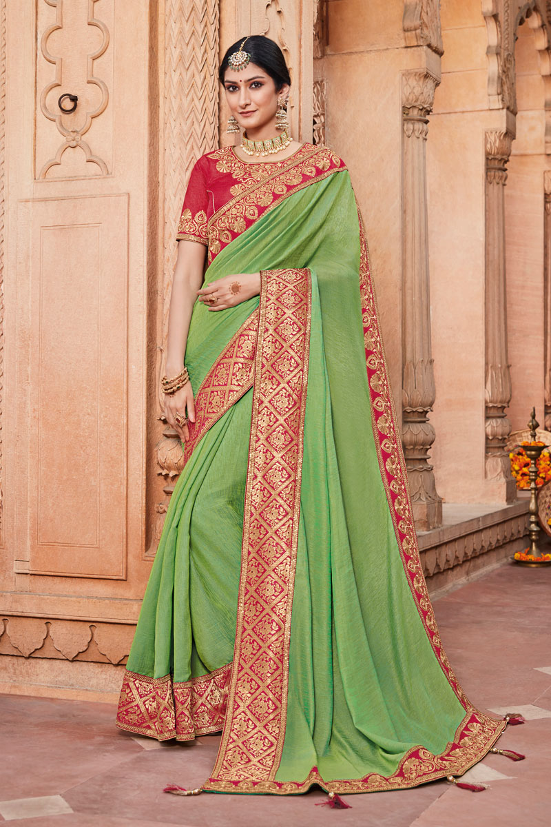 Fancy Fabric Embroidery Work On Green Occasion Wear Saree With Enchanting Blouse
