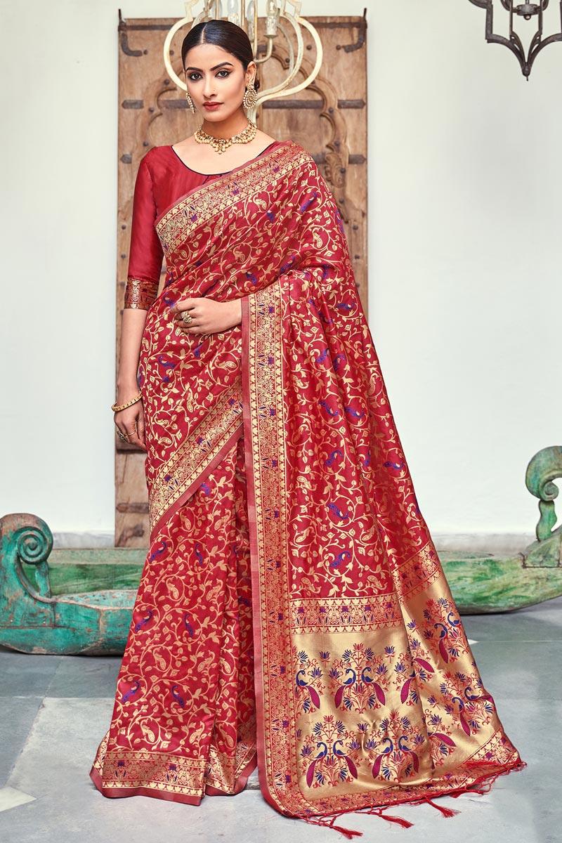 Red Color Puja Wear Weaving Work Fancy Saree In Art Silk Fabric