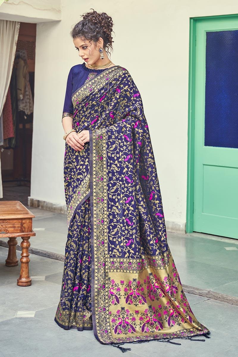 Puja Wear Navy Blue Color Art Silk Fabric Weaving Work Fancy Saree