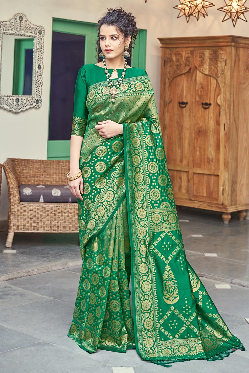 Green Color Puja Wear Weaving Work Fancy Art Silk Fabric Saree