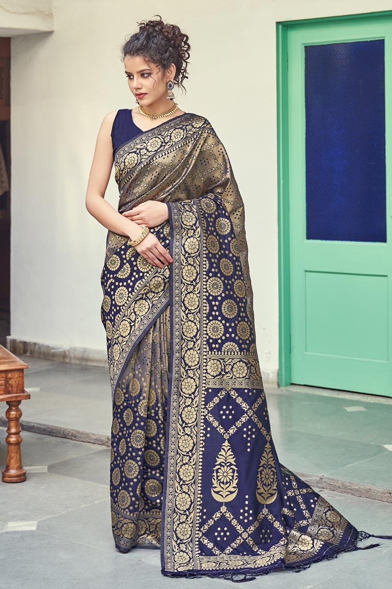 Navy Blue Color Art Silk Fabric Puja Wear Weaving Work Fancy Saree