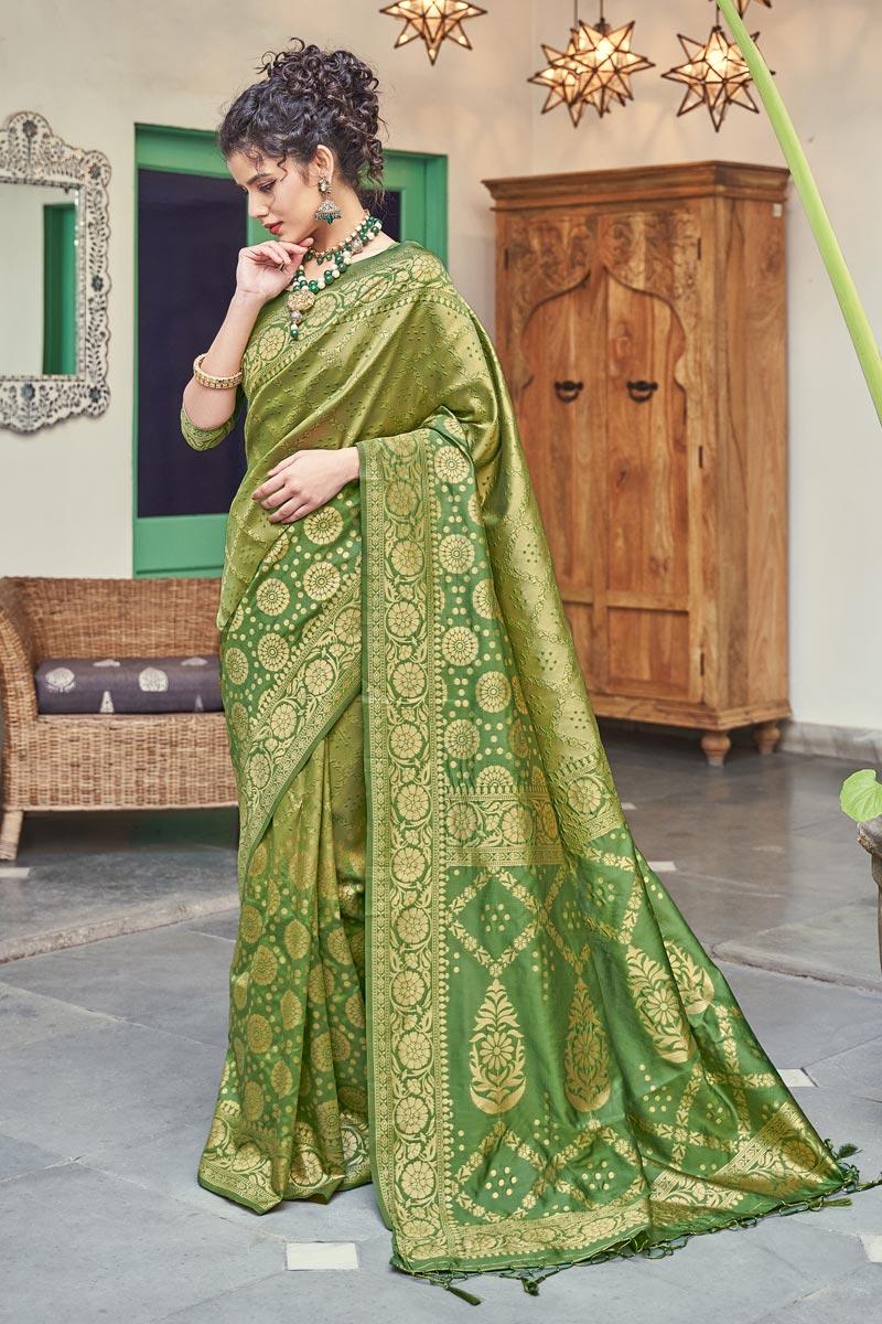 Puja Wear Weaving Work Fancy Saree In Green Color Art Silk Fabric