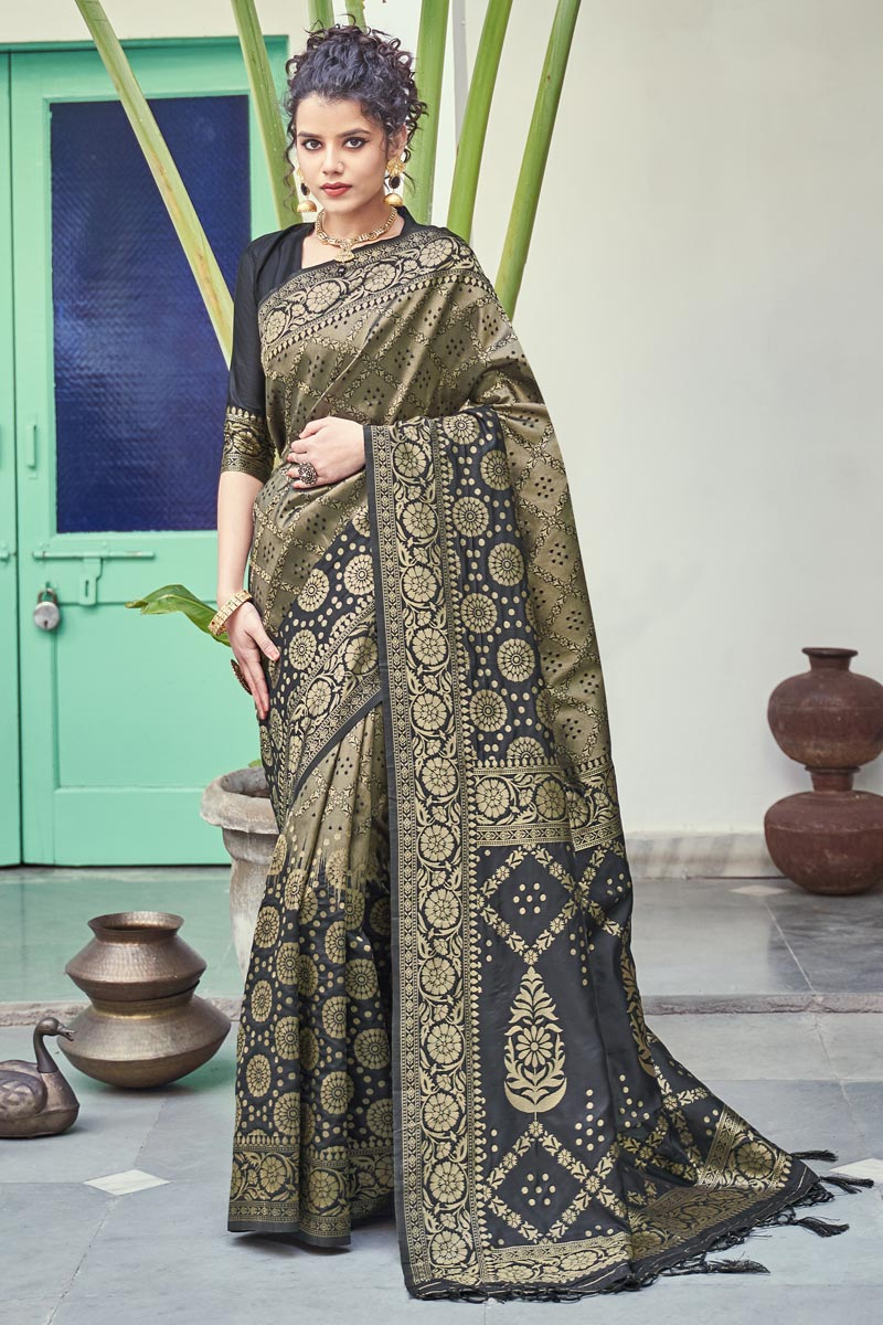 Art Silk Fabric Puja Wear Weaving Work Fancy Saree In Black Color