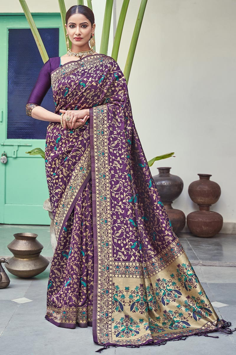 Art Silk Fabric Puja Wear Weaving Work Fancy Saree In Purple Color