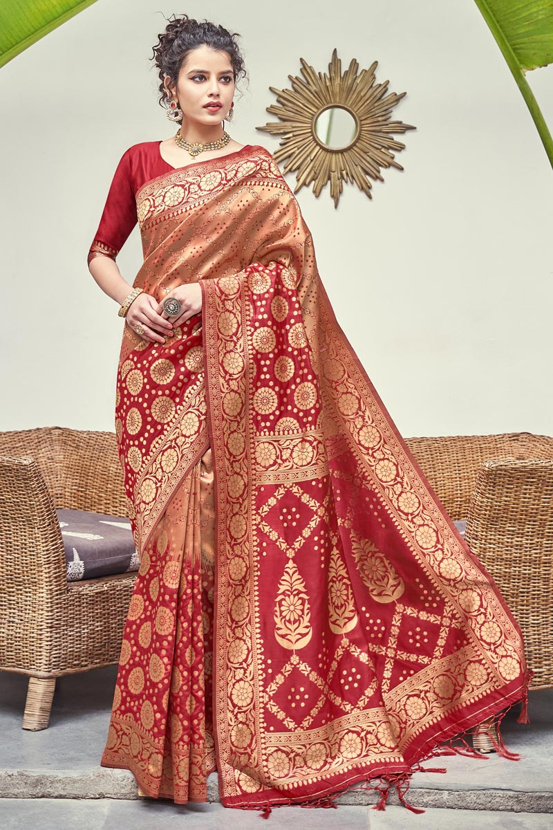 Art Silk Fabric Puja Wear Weaving Work Fancy Saree In Red Color