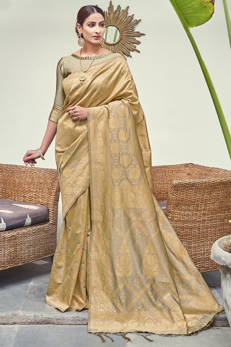 Art Silk Fabric Beige Color Puja Wear Weaving Work Fancy Saree