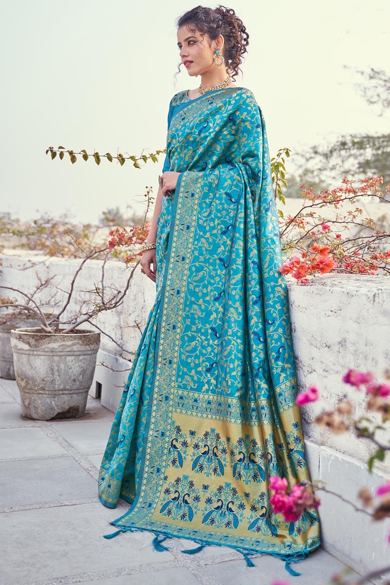 Puja Wear Weaving Work Fancy Saree In Art Silk Fabric Cyan Color