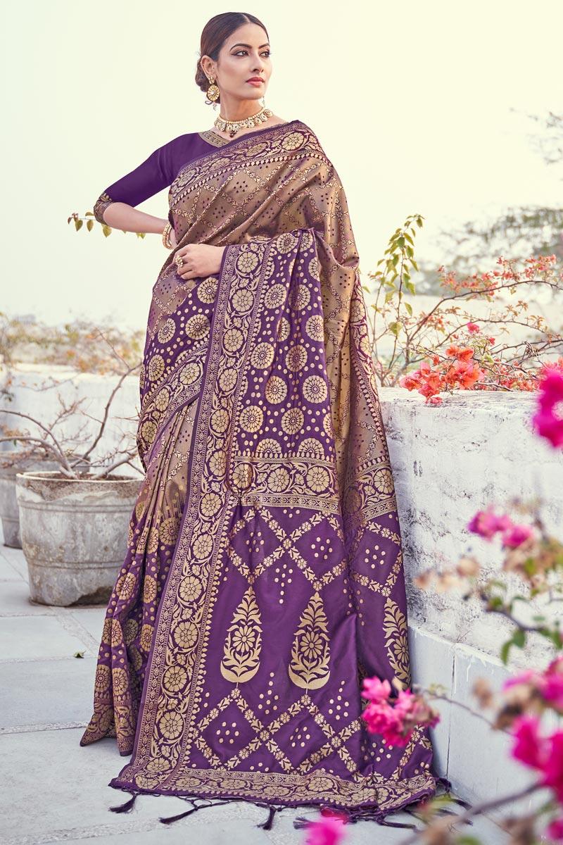 Puja Wear Weaving Work Fancy Saree In Art Silk Fabric Purple Color
