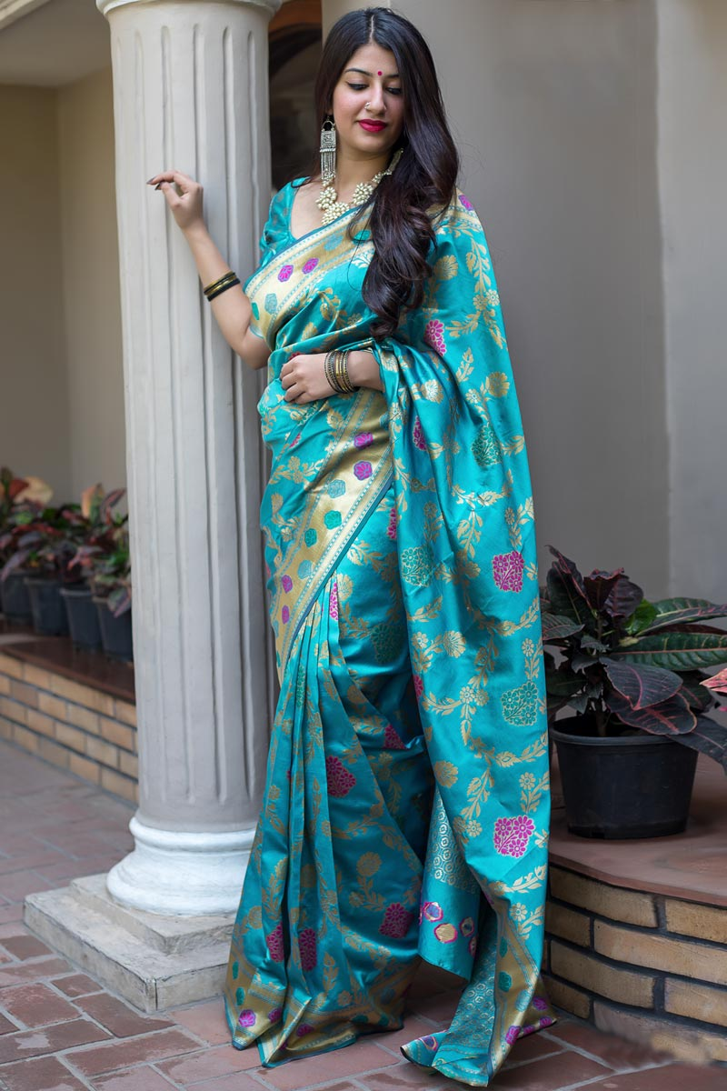 Function Wear Traditional Art Silk Saree In Cyan
