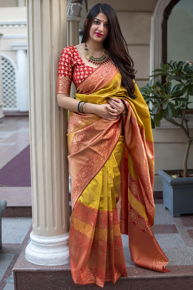 Party Style Traditional Art Silk Designer Saree In Mustard