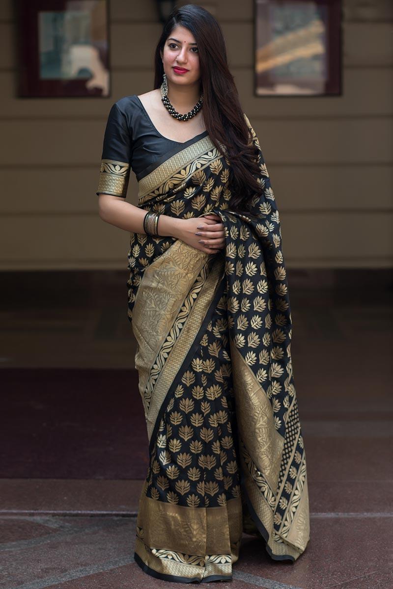 Traditional Function Wear Black Color Fancy Art Silk Fabric Saree