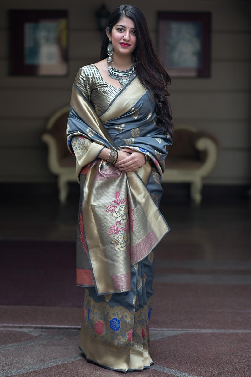 Grey Art Silk Weaving Work Designer Party Style Saree