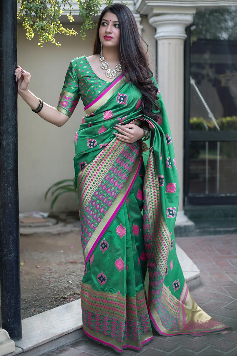 Green Party Style Traditional Art Silk Designer Saree