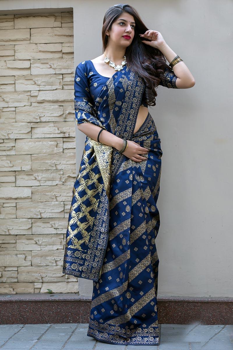 Art Silk Weaving Work Designer Party Style Saree In Navy Blue