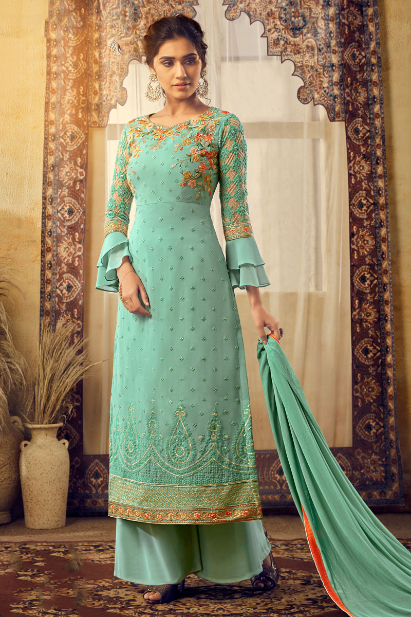 Georgette Fabric Embroidered Light Cyan Color Party Wear Palazzo Salwar Kameez
