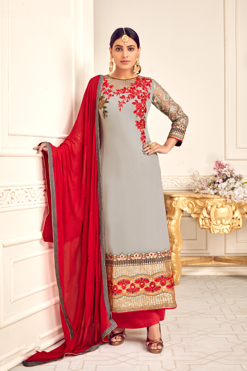 Occasion Wear Grey Color Embroidered Palazzo Salwar Kameez