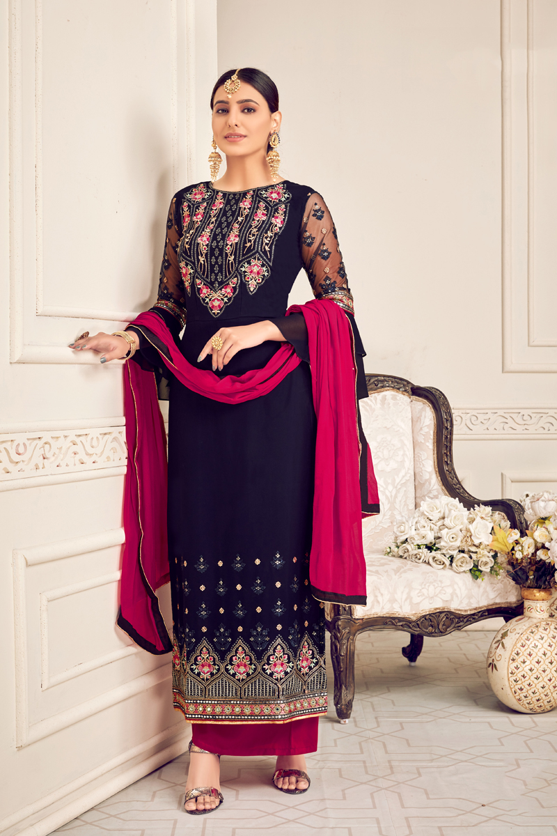 Festive Special Embroidery Work Navy Blue Color Viscose And Georgette Fabric Palazzo Salwar Suit