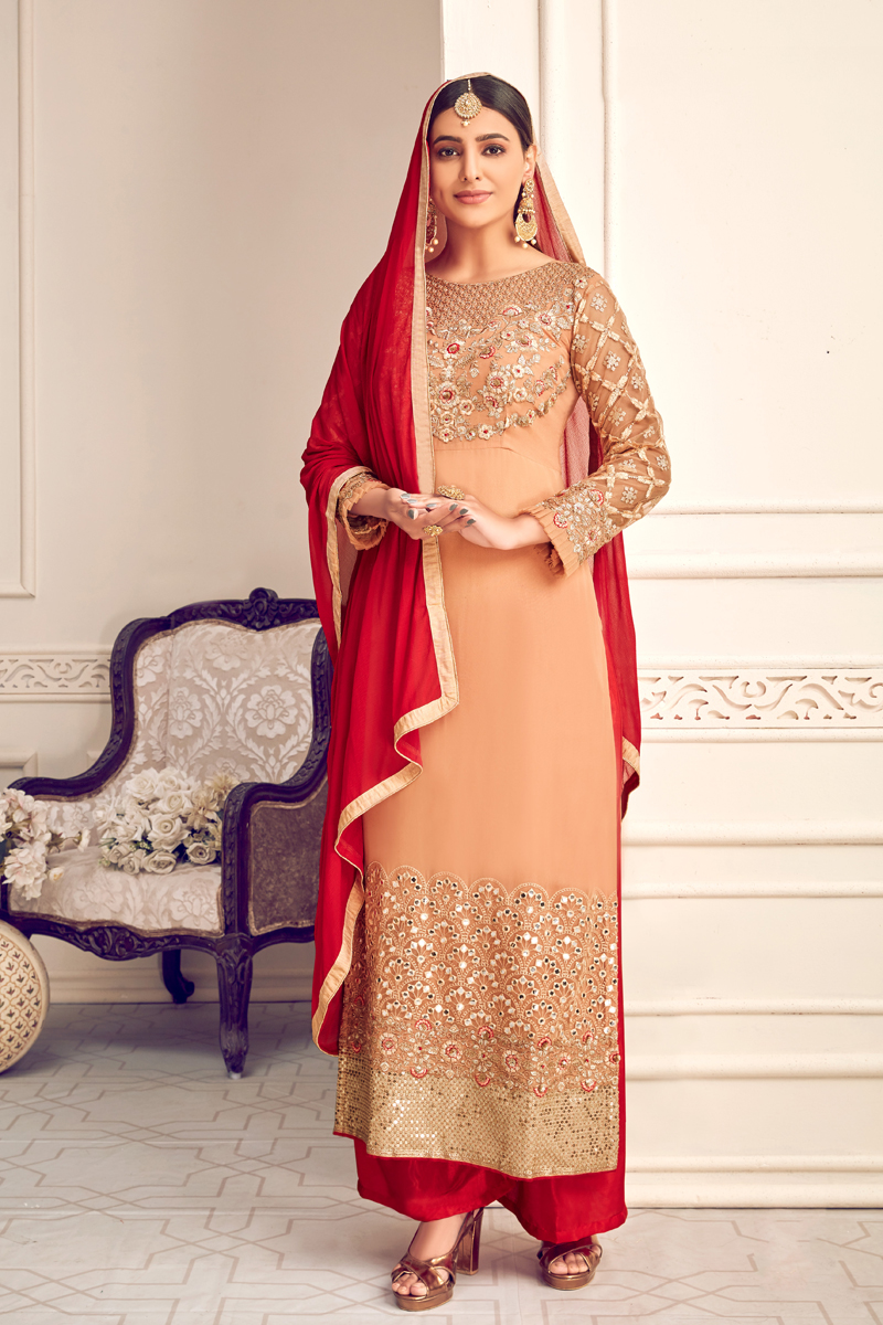 Viscose And Georgette Fabric Chikoo Color Palazzo Suit