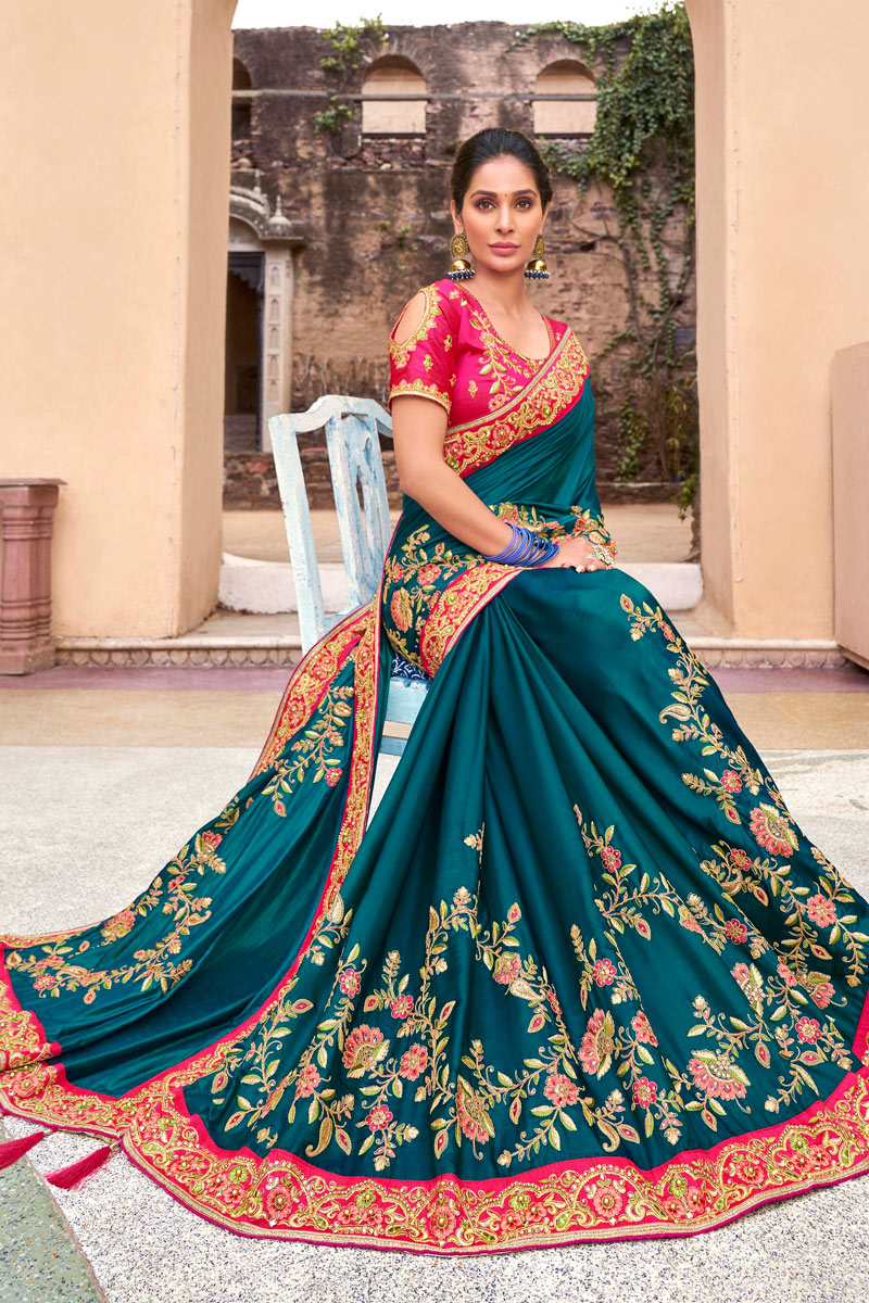 Teal Color Sangeet Wear Satin Georgette Fabric Embroidery Work Saree