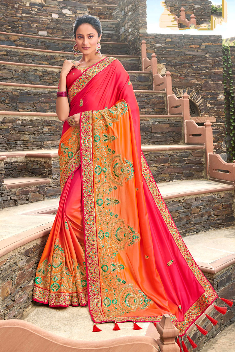 Sangeet Wear Pink And Orange Color Embroidery Work Saree