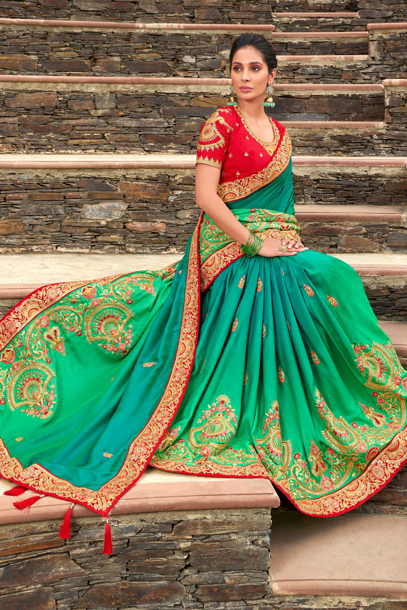 Sangeet Wear Sea Green Color Satin Georgette Fabric Embroidery Work Saree