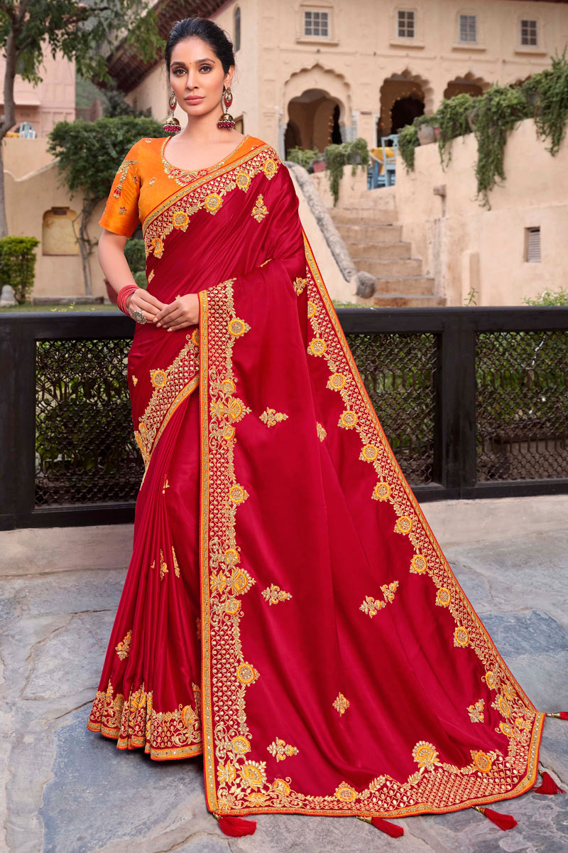 Sangeet Wear Satin Georgette Fabric Embroidery Work Saree In Red Color