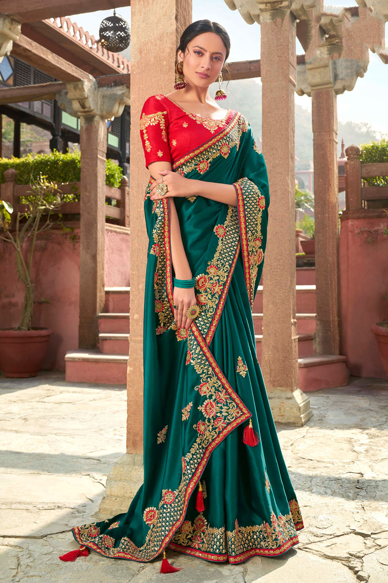 Teal Color Satin Georgette Fabric Embroidery Work Saree