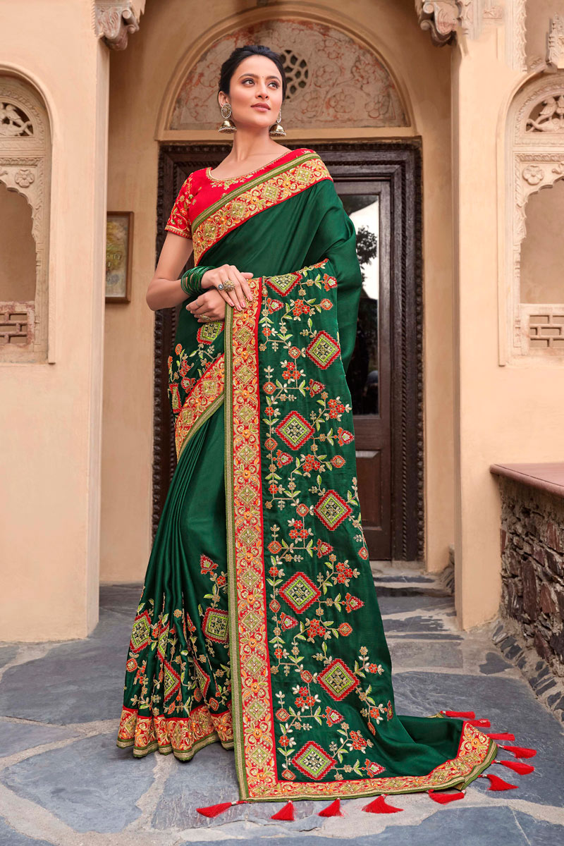 Satin Georgette Fabric Party Wear Saree In Dark Green Color