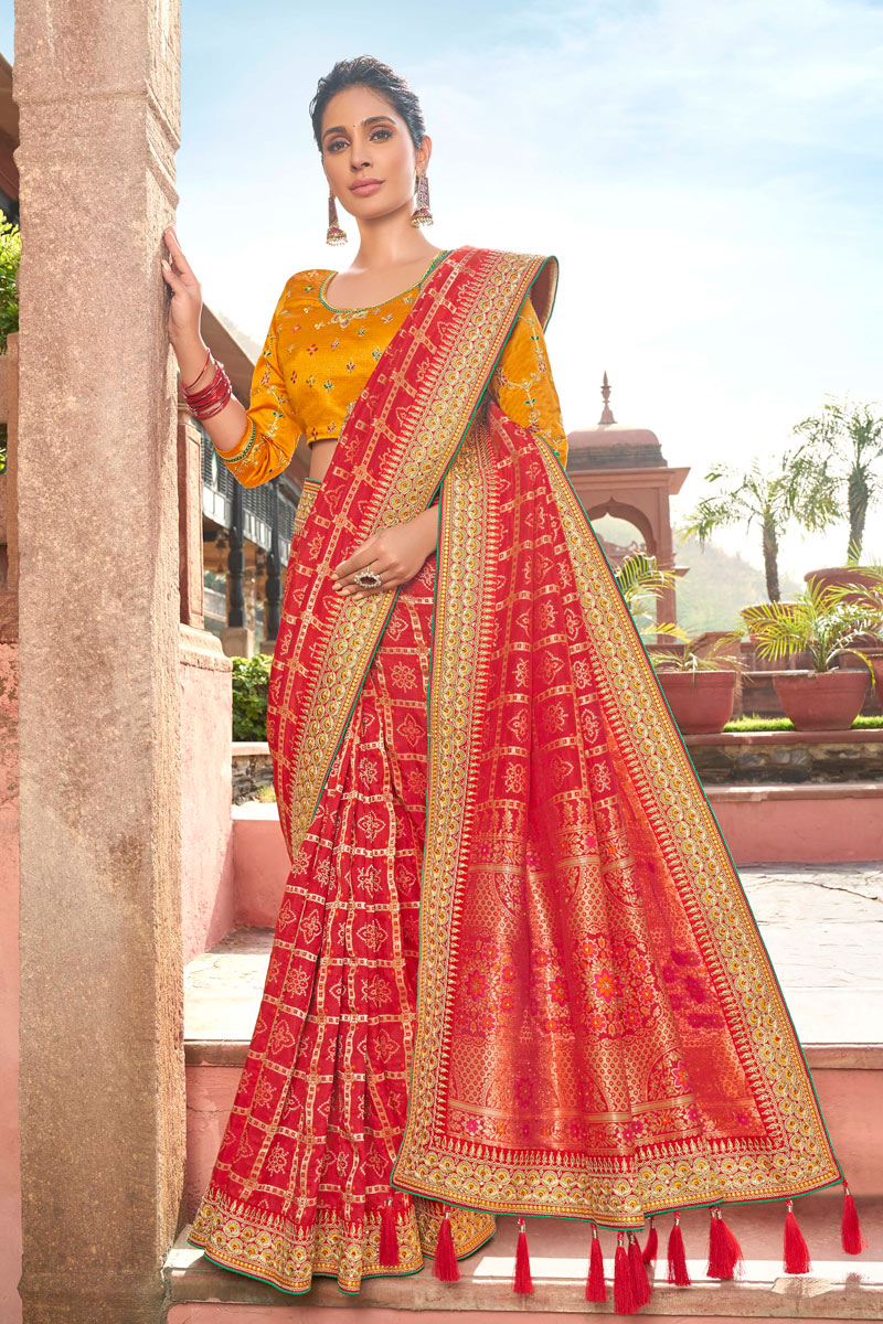 Red Color Satin Georgette Fabric Festive Wear Saree