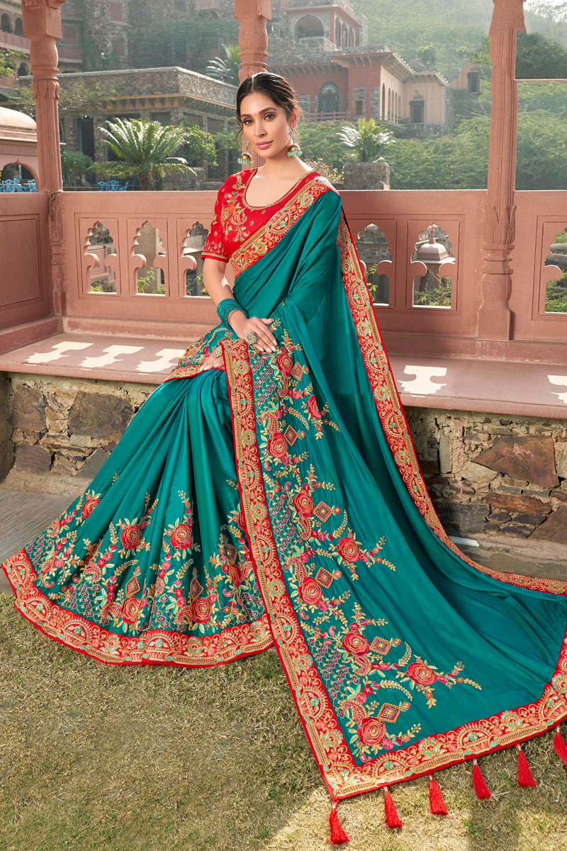 Dark Cyan Color Traditional Saree In Satin Georgette Fabric