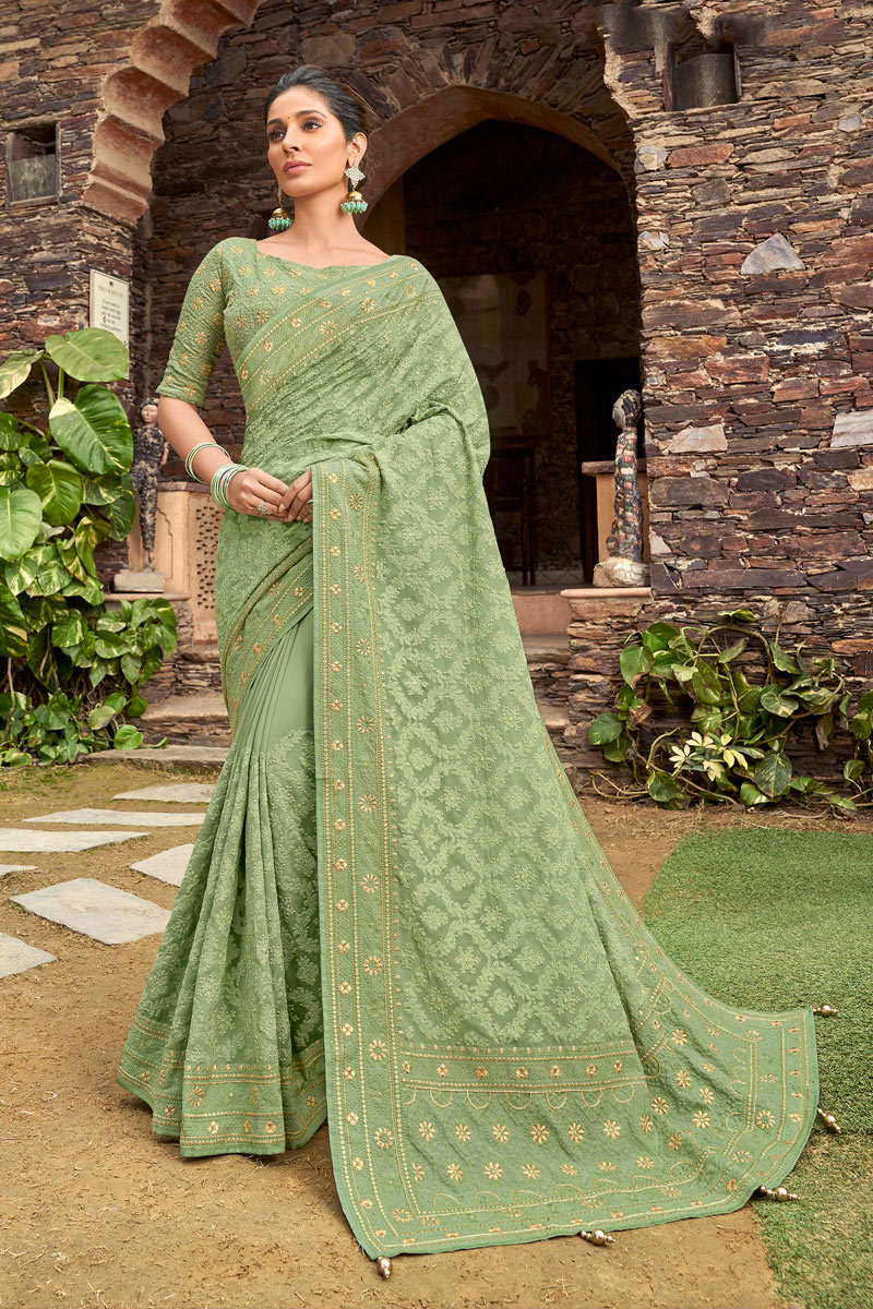 Sea Green Color Party Wear Saree In Satin Georgette Fabric