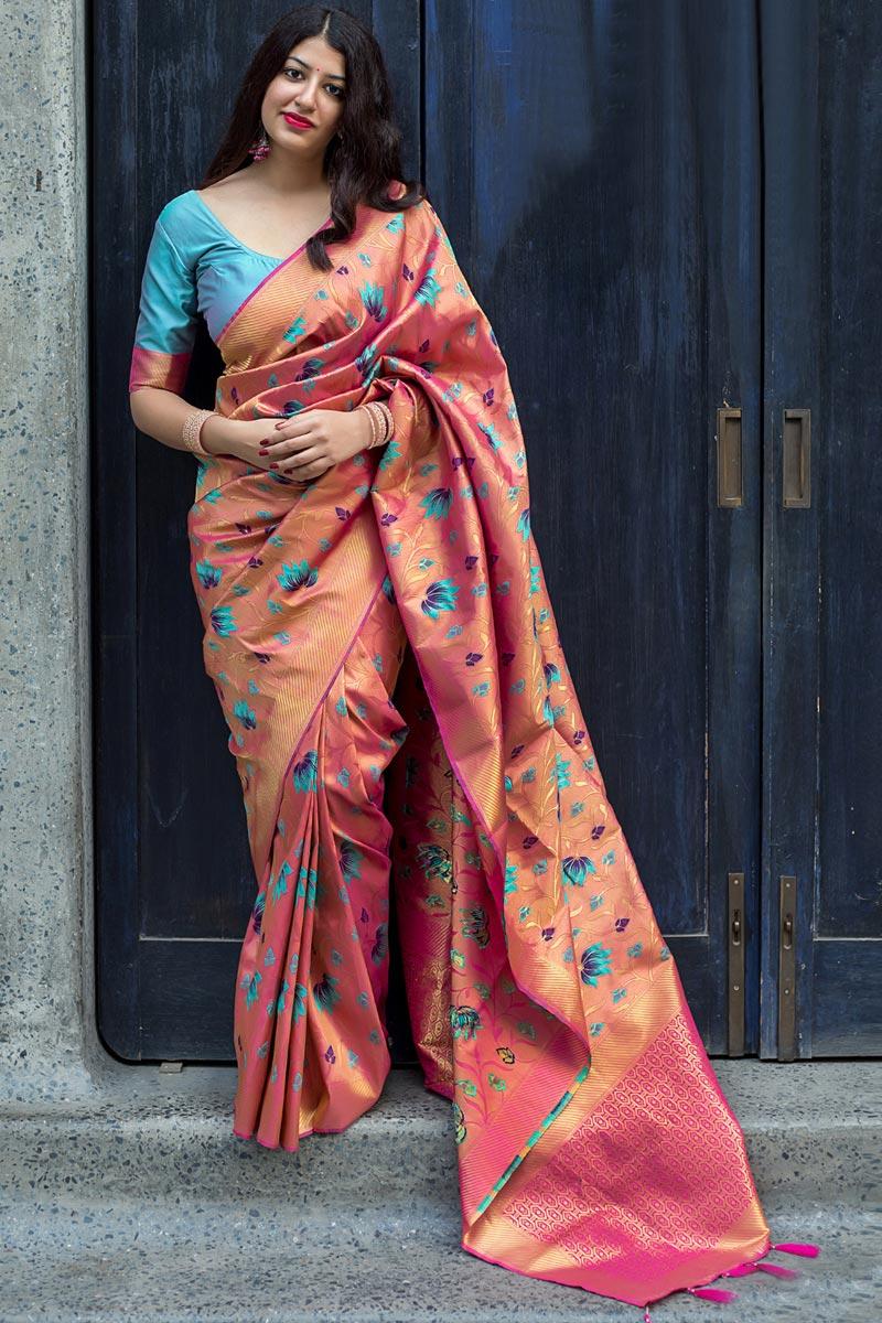Kanjivaram Silk Traditional Salmon Color Weaving Work Fancy Saree