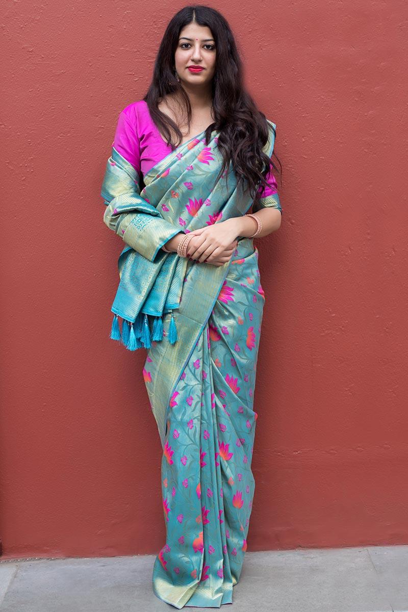 Weaving Work On Kanjivaram Silk Sky Blue Puja Wear Traditional Saree