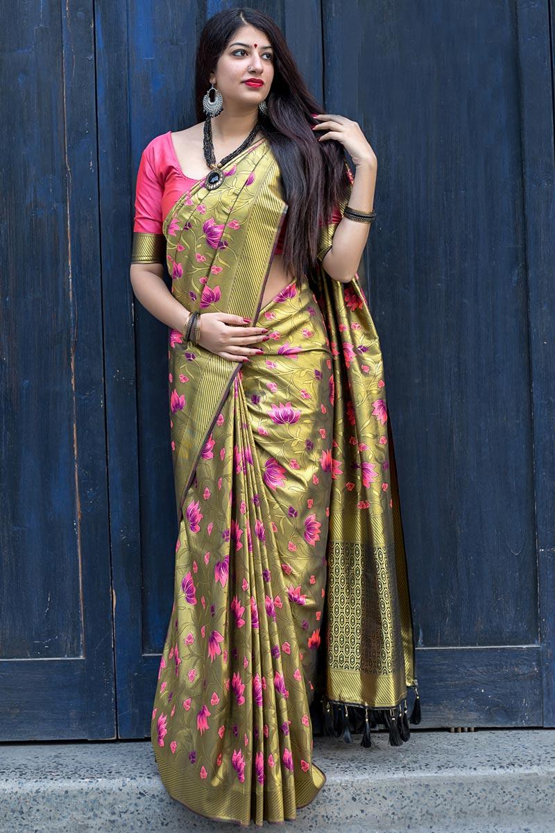 Function Wear Kanjivaram Silk Mehendi Green Weaving Work Fancy Saree
