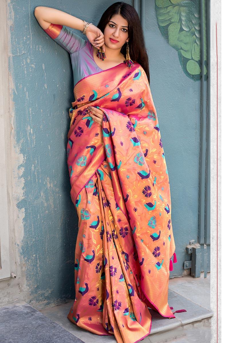 Traditional Fancy Salmon Color Saree With Weaving Work In Kanjivaram Silk