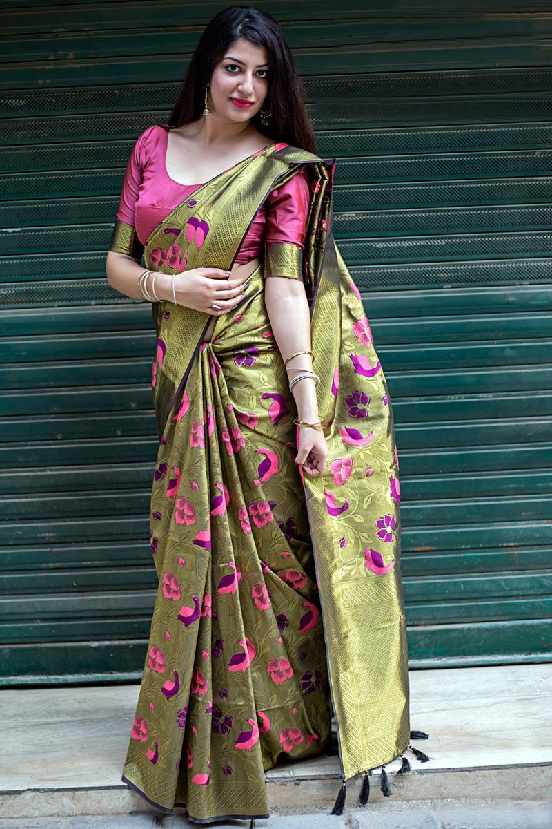 Mehendi Green Traditional Kanjivaram Silk Weaving Work Fancy Saree