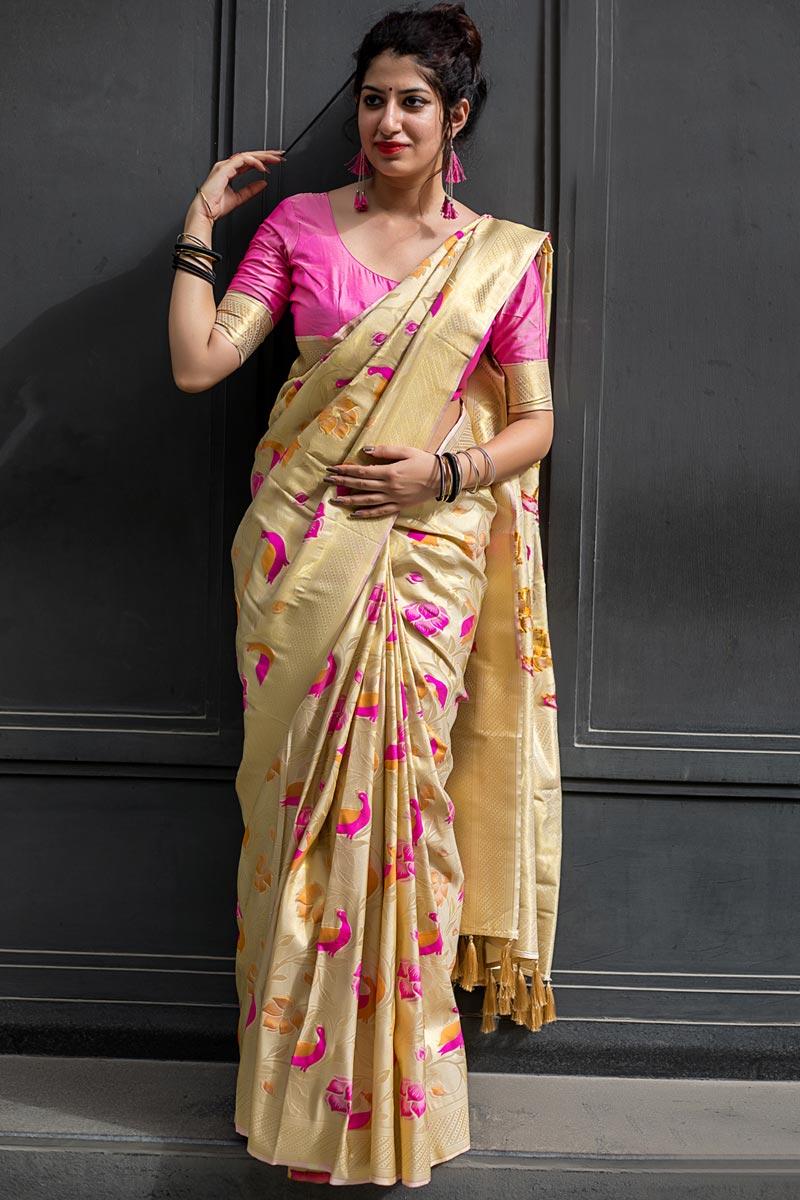 Kanjivaram Silk Traditional Function Wear Beige Saree With Weaving Work