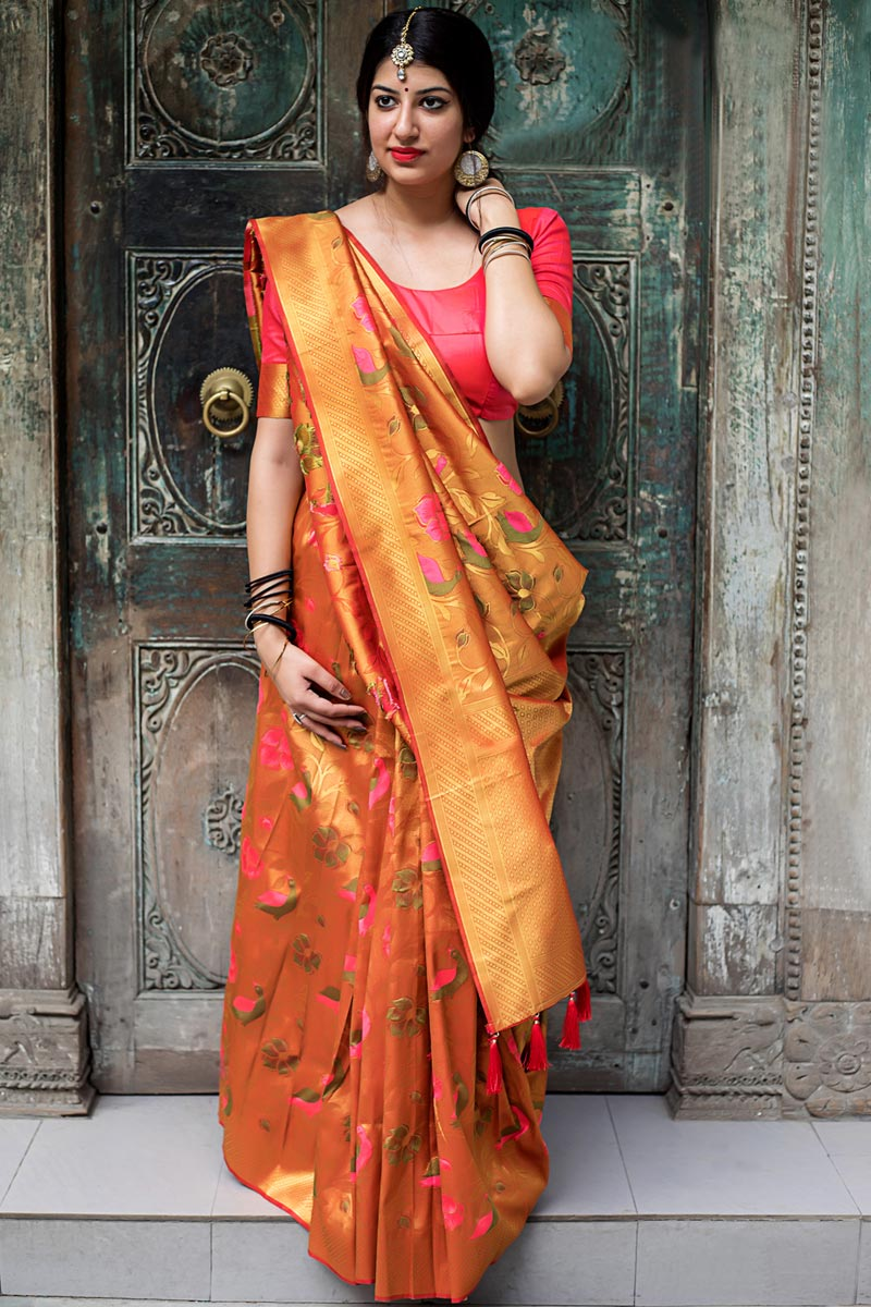Function Wear Orange Kanjivaram Silk Weaving Work Fancy Saree